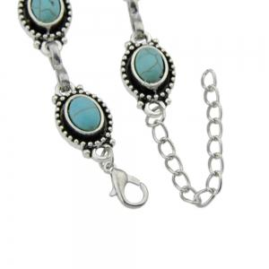 Silver Color Chain with Blue Stone Anklets -
