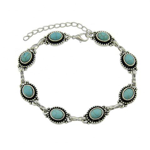Sale Silver Color Chain with Blue Stone Anklets