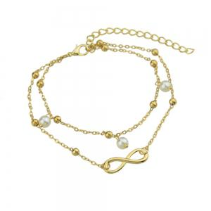 Imulated-pearl Bead Charm Multi Layer Chain Anklet -