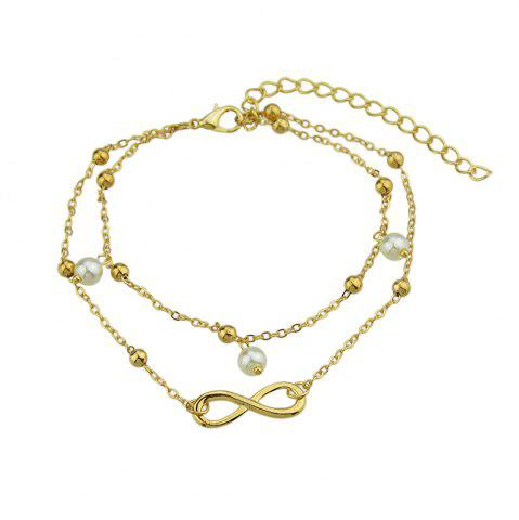 New Imulated-pearl Bead Charm Multi Layer Chain Anklet