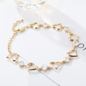 Fashion Heart Connected White Zircon Anklet -