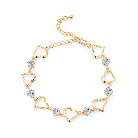 Store Fashion Heart Connected White Zircon Anklet