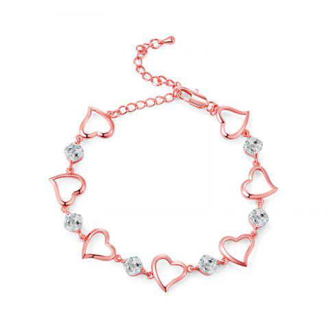 Hot Fashion Heart Connected White Zircon Anklet
