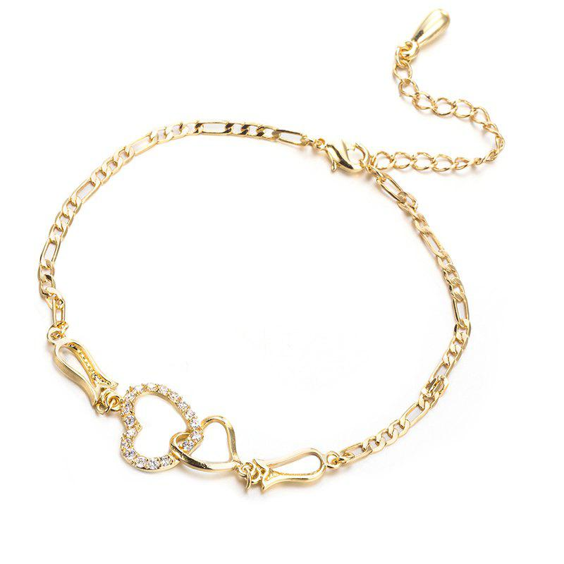 Discount Fashionable Micropaneled Heart-shaped Petals Zircon Anklet
