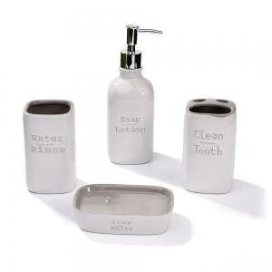 4pcs Ceramic Bath and Shower Accessories Ensemble Set Grey -