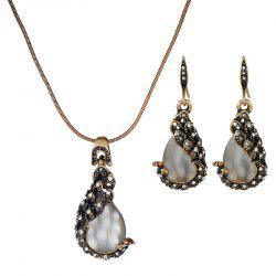 Necklace Earrings Two Woolly Peacock Cat'S Eye Jewelry Set -