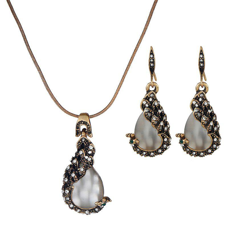 Trendy Necklace Earrings Two Woolly Peacock Cat'S Eye Jewelry Set