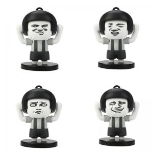 4 Faces Mushroom Head Face Expression Changing Action Figure Keychain Toy Gifts -