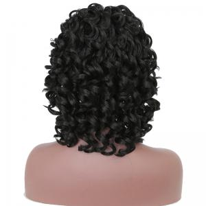 Short Afro Culry Heat Resistant Synthetic Hair Black Wig for African American -