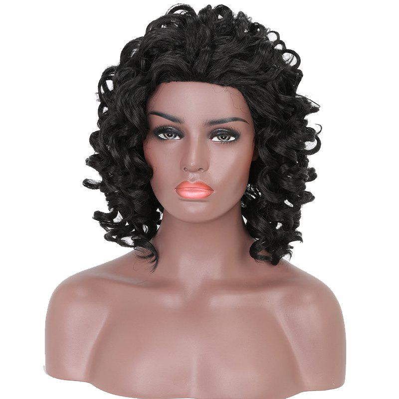 Best Short Afro Culry Heat Resistant Synthetic Hair Black Wig for African American