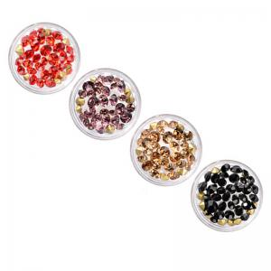 Ornaments Glass Top Bottom Drill Nail Circular Accessories Size Mixing 4 Colors -