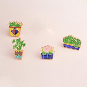 Fashion Cute All-Match Green Sweater Brooch Cactus Mini Plant -