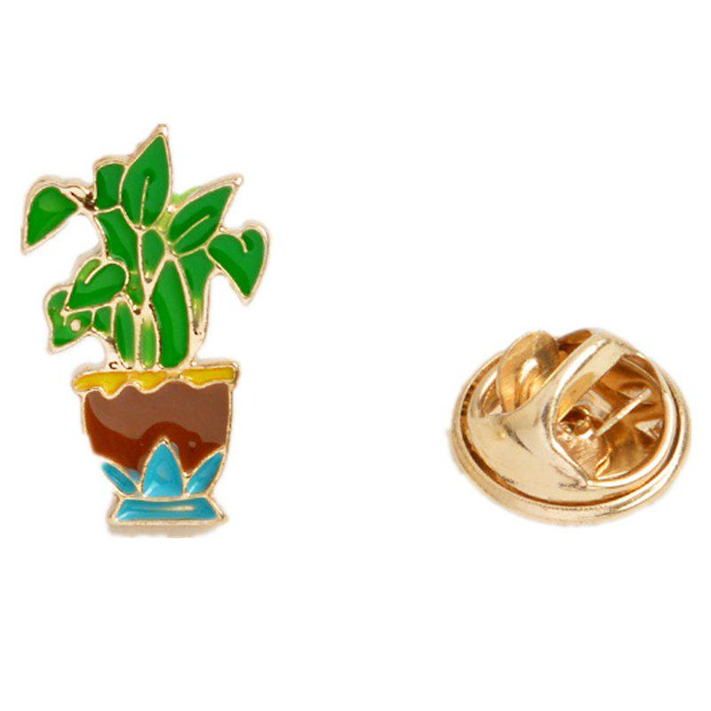 Outfit Fashion Cute All-Match Green Sweater Brooch Cactus Mini Plant
