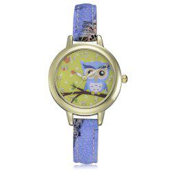 XR2564 Women's Owl Dial Slim Leather Band Wrist Watch -