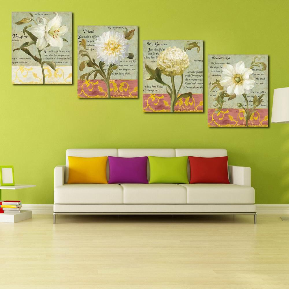 Multi A 20cm X 24cm X 4pc W128 Flowers Unframed Art Wall Canvas ...