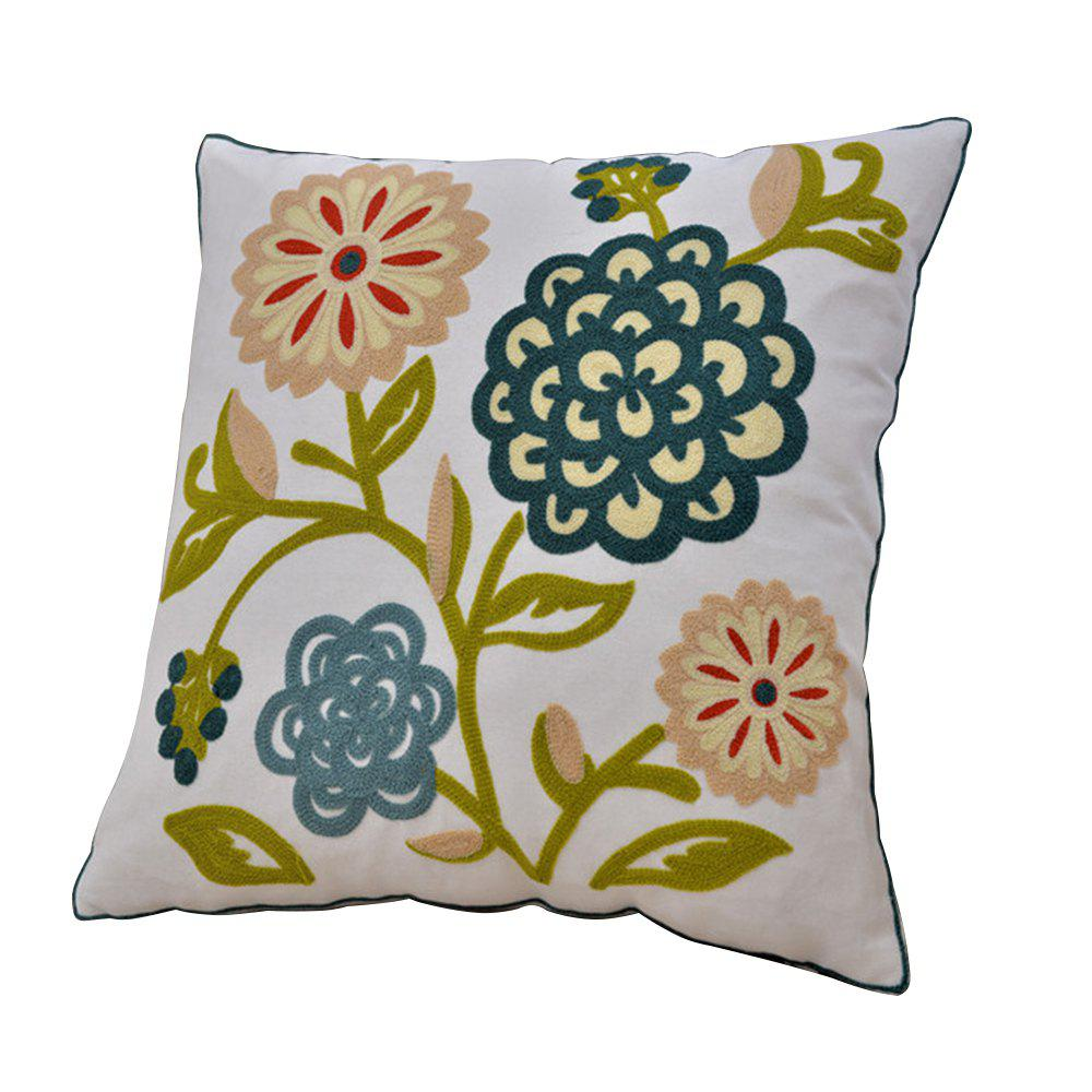 Sale Cotton Flower Wool Embroidery Cushion Hold Pillowcase