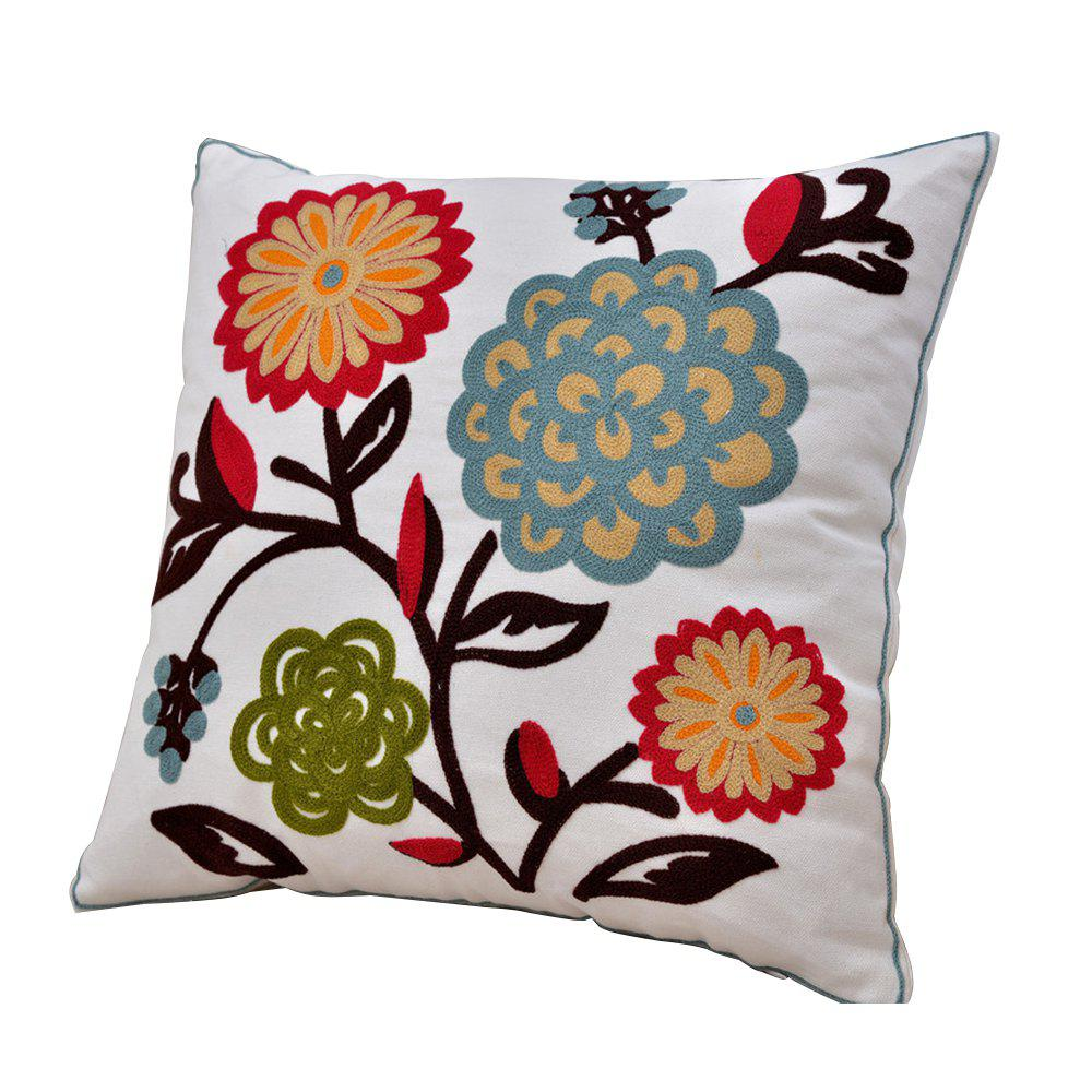 Unique Cotton Flower Wool Embroidery Cushion Hold Pillowcase