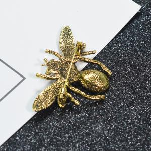 Rhinestone Bee Brooch Alloy Vintage Insect Brooches for Women Fashion Jewelry -