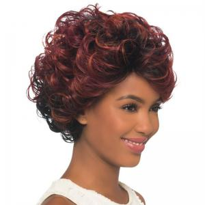 Wine Red Gradient Fluffy Ripple Hair Wig -