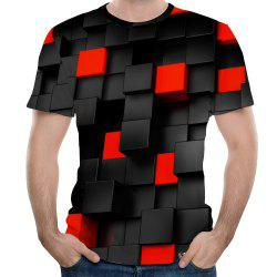 New Fashion Concave and Convex Lattice 3D Printed Men's Short Sleeve T-shirt -
