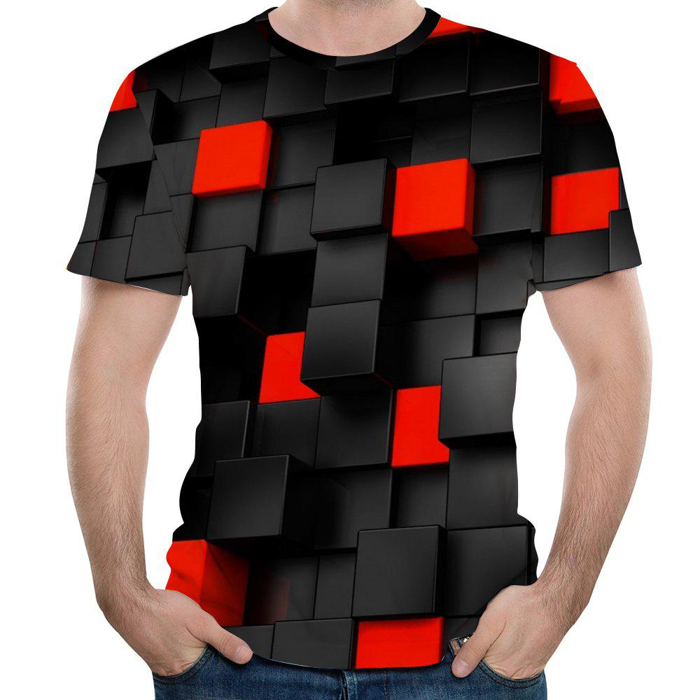 Hot New Fashion Concave and Convex Lattice 3D Printed Men's Short Sleeve T-shirt
