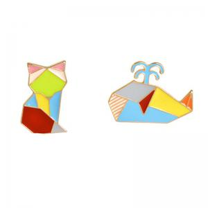 Creative Geometric Lines Colorful Animals Whale Brooches Accessories -