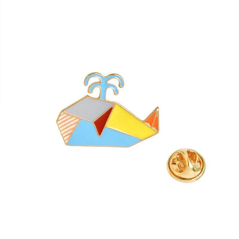 Latest Creative Geometric Lines Colorful Animals Whale Brooches Accessories