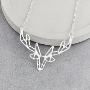 Character Animal Origami Elk Horn Pendant Necklace Lady Jewelry -