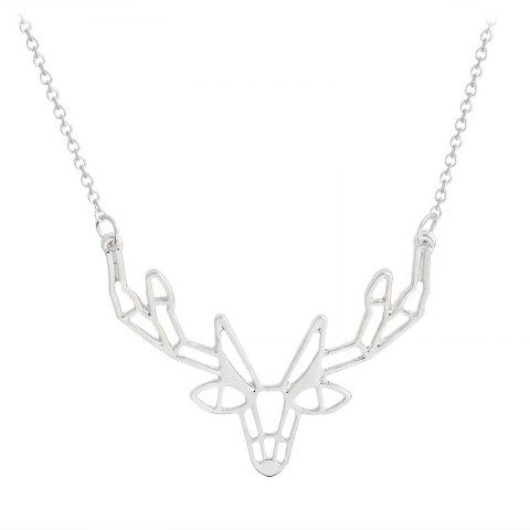 Chic Character Animal Origami Elk Horn Pendant Necklace Lady Jewelry