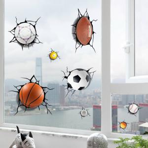 Simulation of 3D Poqiang Football Basketball Cartoon Stickers Children Bedroom -