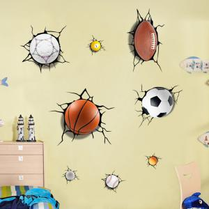 Simulation de 3D Poqiang Football Basketball Cartoon Autocollants Enfants Chambre -