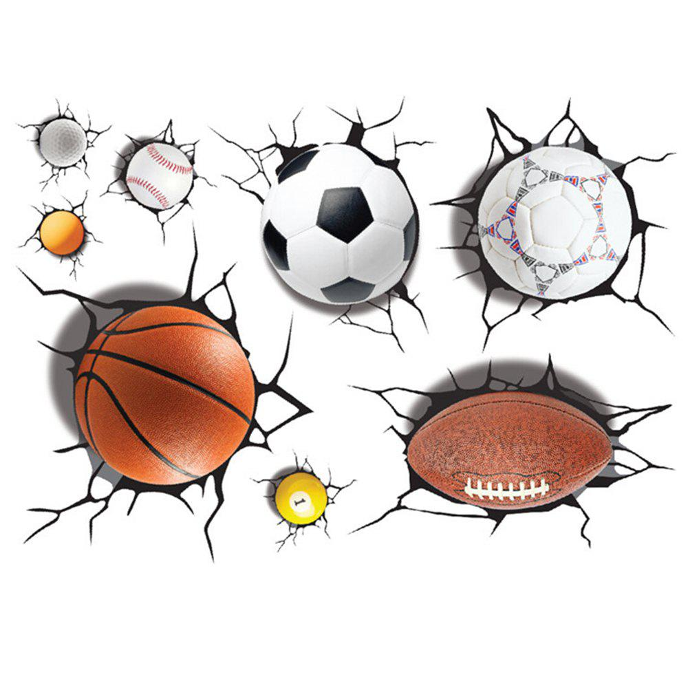 Simulation de 3D Poqiang Football Basketball Cartoon Autocollants Enfants Chambre