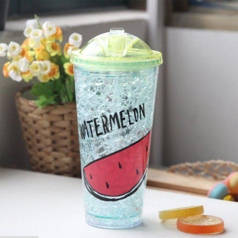Chic Creative Summer Double Zone Cover Straw Plastic Cooling Water Cup