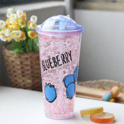 Creative Summer Double Zone Cover Straw Plastic Cooling Water Cup -