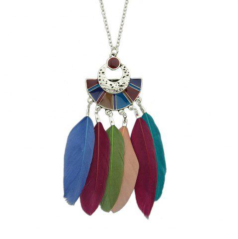 Chic Colorful Feather Pendant Bohemian Necklace for Women