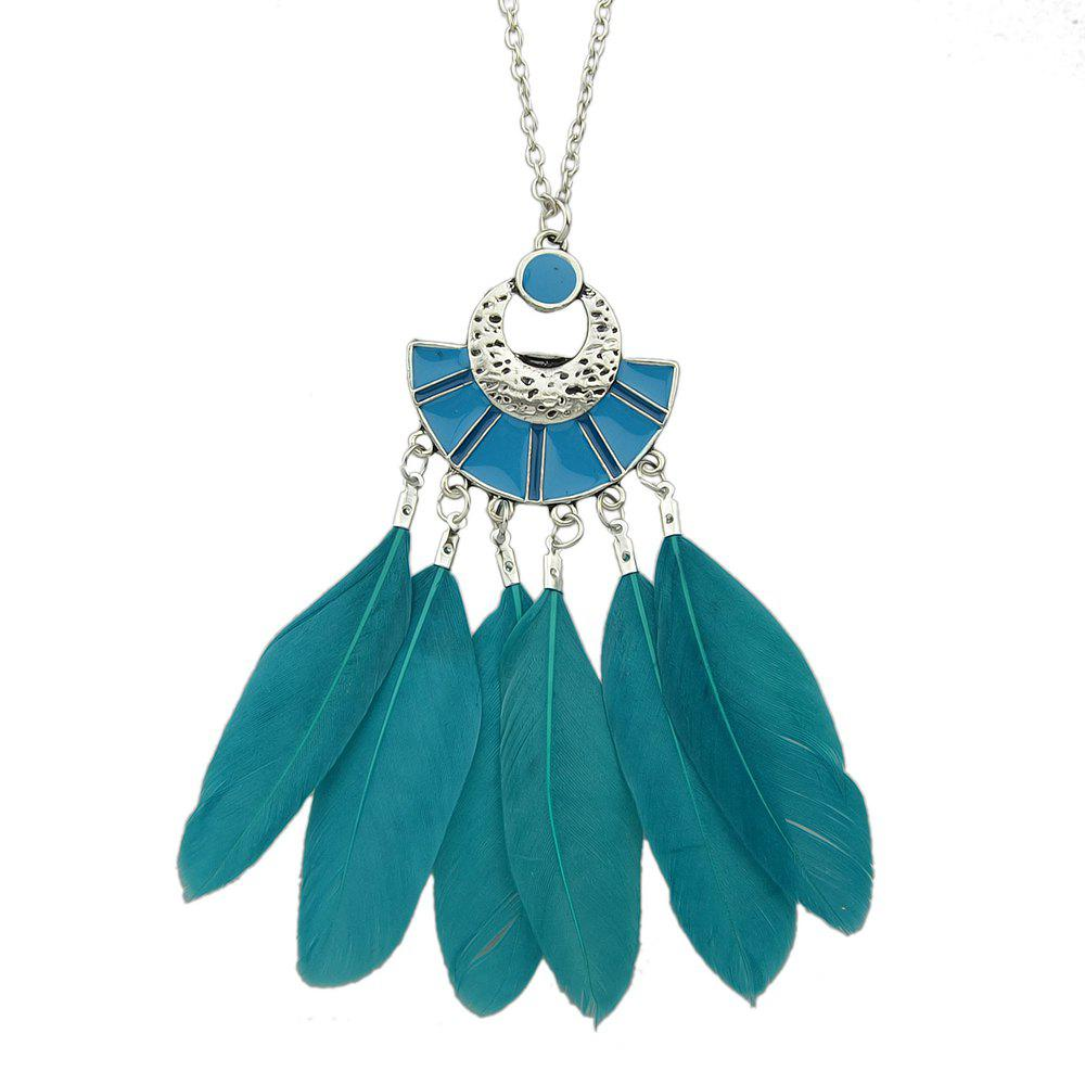 New Colorful Feather Pendant Bohemian Necklace for Women