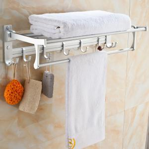 Bathroom Space Aluminum Double Hook Folding Towel Rack -