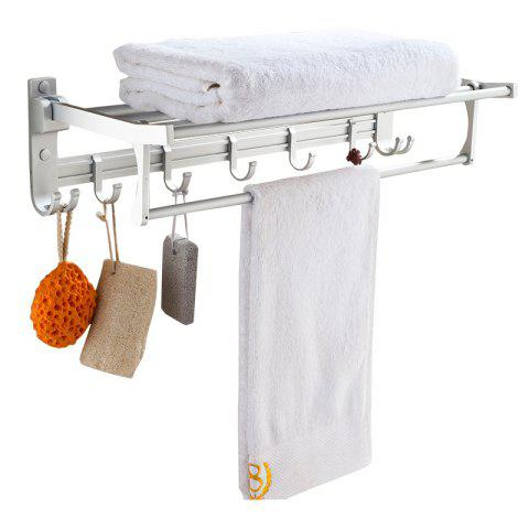 Cheap Bathroom Space Aluminum Double Hook Folding Towel Rack