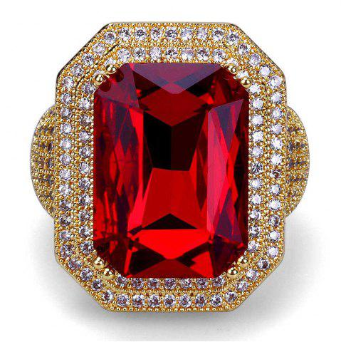 Online Hip Hop 18K Gold Plated Micro Paved CZ Red Stone Big Rings