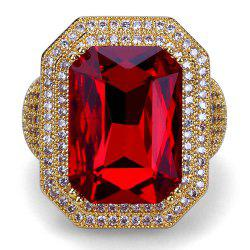 Hip Hop 18K Gold Plated Micro Paved CZ Red Stone Big Rings -