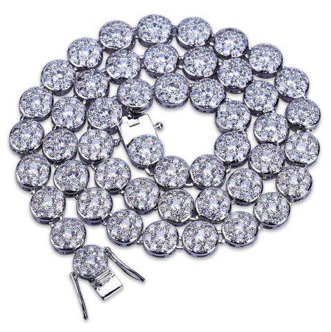 Trendy Hip Hop 18K Gold/Silver Plated Micro Paved CZ Stone Necklace