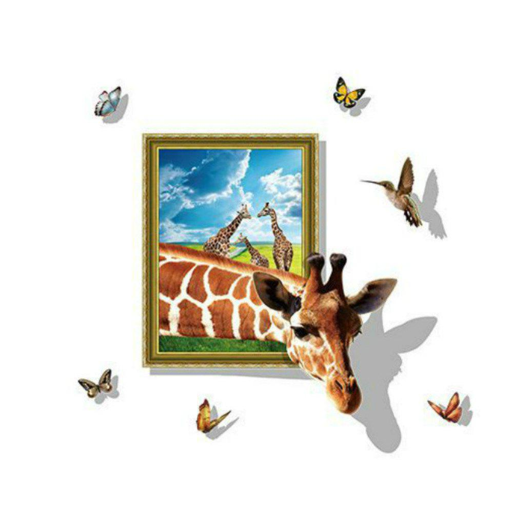 New 3D False Window Giraffe Living Room Wall Stickers