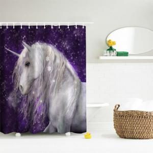 Snowflake Unicorn Water-Proof Polyester 3D Printing Bathroom Shower Curtain -