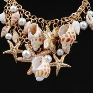 2018 Beach in Summer Starfish Conch Shells Multielement Woman Necklace -