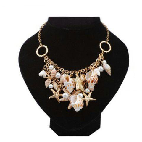 Fancy 2018 Beach in Summer Starfish Conch Shells Multielement Woman Necklace