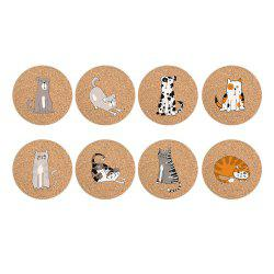 Eco-friendly Non-Stick Large Cork Coasters with Animal Cartoons Design Set of 8 -