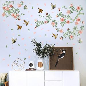 Flower Vine Bird Wall Stickers PVC Home Decals -