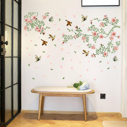 Trendy Flower Vine Bird Wall Stickers PVC Home Decals