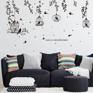 Tree Branches Birdcage Wall Sticker for Home Decoration Removable Decal -