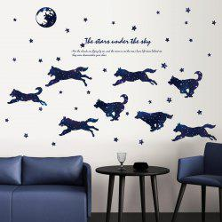 Starry Wolf Group Cartoon Wall Decal for Kids Room Decoration -